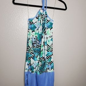 Blue and green body con backless dress